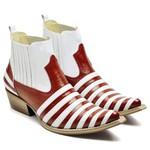 Botina Bota Country Bico Fino Top Franca Shoes Verniz Vermelho / Branco