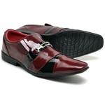 Sapato Social Masculino Top Franca Shoes Verniz Preto / Vermelho
