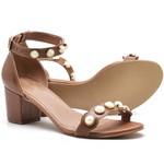 Sandália Feminina Top Franca Shoes Salto Alto Grosso Pedras Caramelo