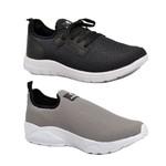 Kit 2 Pares Tênis Esporte Fitnes Top Franca Shoes Preto / Cinza