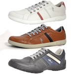 Kit 3 Pares Sapatênis Casual Top Franca Shoes Cinza / Camel / Preto
