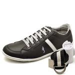 Kit Sapatênis Casual Top Franca Shoes Preto + Cinto e Meia