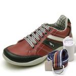 Kit Sapatênis Infantil Casual Top Franca Shoes Vermelho + Cinto e Meia