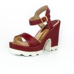 Sandália Feminina Top Franca Shoes Salto Grosso Vinho