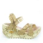 Sandália Feminina Top Franca Shoes Plataforma Anabela Bege