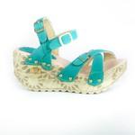 Sandália Feminina Top Franca Shoes Plataforma Anabela Verde