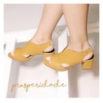 Sapato Salto Grosso Mostarda- 177-02