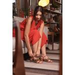 Sandália Salto Baixo Caramelo e Onça