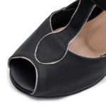 Sandalia Peep Toe Preto e Off White- 900-03