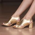 Sandália Salto Grosso Ouro