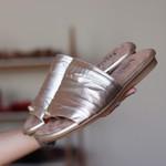 Sandália Rasteira Metalizado Ouro- 36-09