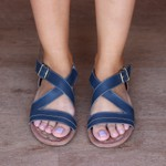 Sandália Rasteira Azul Marinho