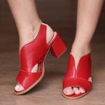 Sandália Salto Grosso Vermelha - Veneza