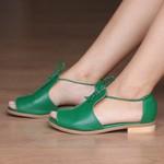 Sandália Salto Baixo Freedom com Calcanhar Fechado Verde Bandeira