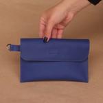 Bolsa de Couro Legítimo Feminina Sacola Alça Larga Asas Azul