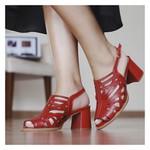 Sandália Salto Grosso Confortável Vermelho- 177-13