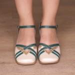 Sapato Boneca com Laser Mostarda e Caramelo Pérola e Verde- 913-27
