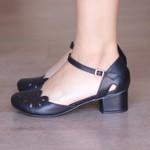 Sapato Boneca Salto Grosso-Couro Preto- 600-28