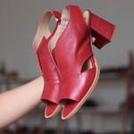 Sandália Salto Grosso Vermelha