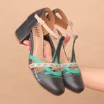Sapato Boneca Salto Baixo Azul Marinho, Hortelã e Nude- 908-05
