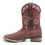Bota Texana Feminina - Dallas Bordô / Pink - Roper - Bico Quadrado - Cano Medio - Solado Nevada - Vimar Boots - 13026-A-VR
