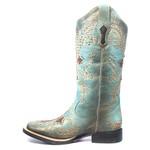Bota Texana Feminina - Fóssil Flex Azul Dourado / Café - Roper - Bico Quadrado - Cano Longo - Solado Freedom Flex - Vimar Boots - 13065-A-VR