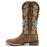 Bota Texana Feminina - Fóssil Caseína Caramelo - Roper - Bico Quadrado - Cano Longo - Solado Nevada - Vimar Boots - 13073-A-VR