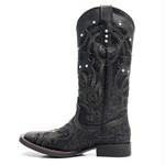 Bota Texana Feminina - Fóssil Preto / Craquelê Preto - Roper - Bico Quadrado - Cano Longo - Solado Freedom Flex - Vimar Boots - 13089-B-VR