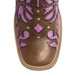 Bota Texana Feminina - Atlanta Café / Craquelê Rosa - Roper - Bico Quadrado - Cano Longo - Solado Freedom Flex - Vimar Boots - 13089-D-VR