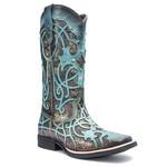 Bota Texana Feminina - Fóssil Flex Azul Dourado / Craquelê Bronze - Roper - Bico Quadrado - Cano Longo - Solado Freedom Flex - Vimar Boots - 13089-F-VR