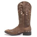 Bota Texana Feminina - Dallas Castor / Craquelê Bronze - Roper - Bico Quadrado - Cano Longo - Solado Freedom Flex - Vimar Boots - 13104-A-VR