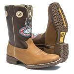 Bota Texana Infantil Masculina - Crazy Horse Bambu / Cafe - Roper - Bico Quadrado - Cano Longo - Black Horse