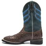 Bota Texana Masculina - Avestruz Réplica Café / Celeste - Roper - Bico Quadrado - Cano Médio - Solado VRX - PalFlex - 52012-A-PF