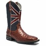 Bota Texana Masculina - Avestruz Réplica Pinhão / Bandeira Reino Unido - Roper - Bico Quadrado - Cano Médio - Solado VRX - PalFlex - 81169-A-PF