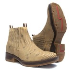 Botina Masculina - Lezar Lixado Taupe - Roper - Bico Quadrado - Solado Strong Shock - Vimar Boots - 82081-F-VR