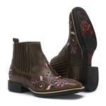 Botina Feminina - Atlanta Café / Rosa- Roper - Bico Quadrado - Solado VTS - Vimar Boots - 12152-B-VR