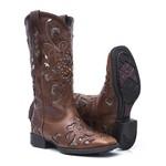 Bota Texana Feminina - Atlanta Café / Craquelê Bronze - Roper - Bico Quadrado - Cano Longo - Solado VTS - Vimar Boots - 13104-D-VR