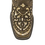 Bota Texana Feminina - Dallas Tabaco / Craquelê Ouro - Roper - Bico Quadrado - Cano Longo - Solado VTS - Vimar Boots - 13119-A-VR