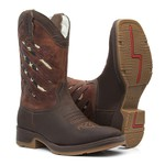 Bota Texana Masculina -Crazy Horse Café / Sella / Bandeira EUA - Roper - Bico Quadrado - Cano Médio - Solado Strong Shock - Vimar Boots - 81294-A-VR