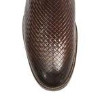 Botina Luxo Masculina - Tricê Pinhão - Bico Redondo - Cano Curto - Solado Couro Antiderrapante - Vitrine Country - TG001-E-VC
