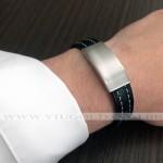 Pulseria masculina design Italiano de Aço com couro preto e costura clara