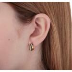 Brinco argola de trava em ouro 18k amarelo com Diamante sintético e Esmeralda sintética