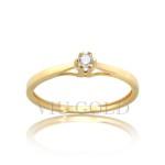 Anel solitário em ouro 18k amarelo com Diamante