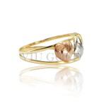 Anel com 3 corações em ouro 18k amarelo, branco, e rose