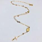 Gargantilha em ouro 18 k de terço com bolinhas nas 3 cores e corrente cartier