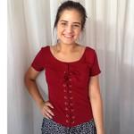 BLUSA T-SHIRT FEMININA MARSALA