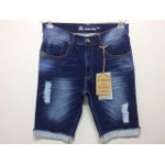 BERMUDA MASCULINA JEANS ESCURO DESTROYED