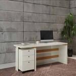Mesa Para Escritório Com Gaveteiro TC145 OffWhite/Natural - Móveis Dalla Costa