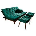 Sofa Cama Reclinavel Caribe + Duas Banquetas Rubi Essencial Verde