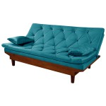 Sofá Cama Reclinável Caribe 3 Posições Essencial Estofados Azul Turquesa